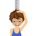 nerd boy with glasses measuring his height vector image