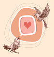 a couple birds sharing love cute birds vector image