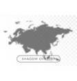 asia and europe world map shadow realistic grey vector image