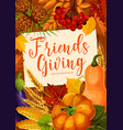 autumnal friendsgiving potluck dinner vector image vector image