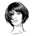 beautiful girl portrait black and white style vector image vector image