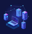 big data processing dark isometric vector image vector image