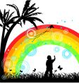 boy with kite under rainbow vector image