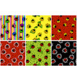 cartoon seamless pattern colorful ladybug set vector image