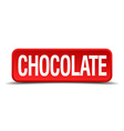 chocolate red 3d square button on white background vector image