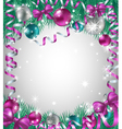 Christmas background with bright baubles vector image vector image