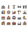 city buildings color linear icons set vector image