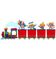 clowns riding on train vector image vector image