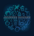 coffee house round blue cafe vector image vector image