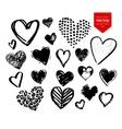 collection black grunge valentine hearts vector image