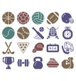 collection monochromatic pixel icons sport vector image