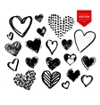 Collection of black grunge Valentine hearts vector image vector image