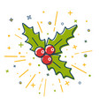 colored christmas mistletoe icon in thin line vector image vector image