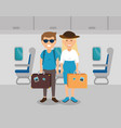 couple travelers in the airplane vector image