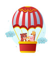 cute animals flying with air balloon vector image