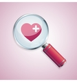Dating concept loupe and heart vector image vector image