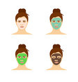 different types facial masks and skin care set vector image vector image