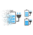 dissolving pixel halftone charge battery icon vector image vector image
