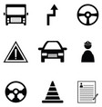 driving school icon set vector image vector image