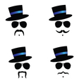 face with mustache and hat blue vector image