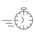 fast stopwatch thin line icon time and speed vector image vector image