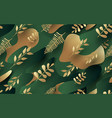 gold leaves pattern luxury green and vector image