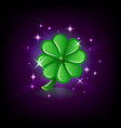 green four-leaf clover with sparkles luck symbol vector image vector image