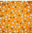 Halloween seamless bright skull doodle pattern vector image