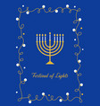 hanukkah candles menorah and festival of lights vector image