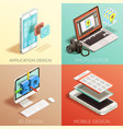 isometric graphic design set vector image vector image