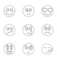 kind icons set outline style vector image vector image