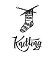 knitting lettering logo with sock vector image