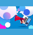 laptop hand hold megaphone new idea chat support vector image