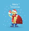 merry christmas greeting card dog wearing santa vector image
