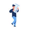 musician with trumpet cartoon walking trumpeter vector image
