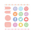 Pastel drawing social media icondesign element vector image