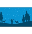 People and deer on the hill Christmas scenery vector image vector image
