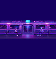 people in night subway train car underground vector image vector image
