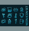 personal hygiene set icons blue neon style vector image vector image