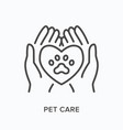 pet care flat line icon outline vector image