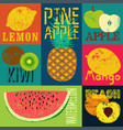 pop art grunge retro fruit poster set fruits vector image