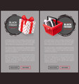 price tags with shopping cart and gift box vector image vector image