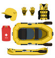 rafting equipment and protective gear icon vector image vector image