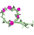 round frame thorns and purple roses isolated vector image