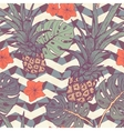 Seamless pattern with pineapple and tropical