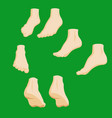 set of cartoon-style girl foots in different vector image