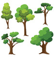 set of trees isolated on white background cartoon vector image vector image