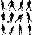 soccer player collection silhouette vector image