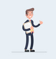 standing business man holding certificate or vector image