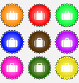 Suitcase icon sign A set of nine different colored vector image vector image